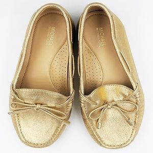 New Michael Kors Metallic Leather Moccasins 8, 8.5